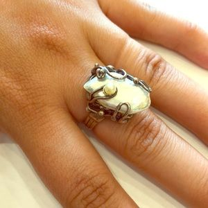 Large sterling silver and natural pearl ring